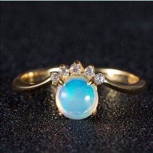 Natural Opal 14k Gold PLT Silver